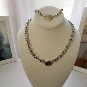 Jewelry - Pretty Sterling Silver Necklace & Bracelet Set